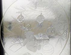 "Vintage Glass Christmas Serving Platter Cookies Treats Teddy Bear Under Tree 12"""
