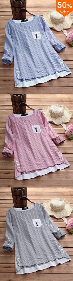 Vintage Women Cotton Side Buttons Stripe Cat Embroidered Patchwork B. Blouse Styles, Blouse Designs, Vetements Clothing, Diy Couture, Striped Shirt Dress, Mode Inspiration, Dressmaking, Vintage Ladies, Cute Outfits