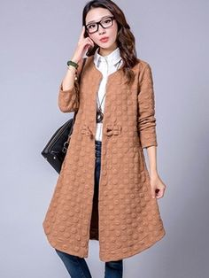 Ericdress Slim One-Button Solid Color Trench Coat