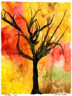 Trees: Paint over entire surface with different Fall colors. They can run together a bit but we don't want it to become one single mixed shade. Let dry completely. Take your black paint, and make it quite watery. Using your paintbrush or an eyedropper drop in some paint at the bottom. Blow upward to form a trunk. Add more black paint where you want your branches to begin and blow the paint as far as you can. Keep blowing until you have the tree looking the way you want it to. Dry flat...