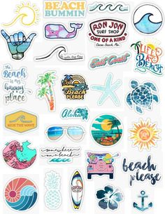 beach sticker pack beach bummin aloha waves water ocean beach lake pond beach please sand wind summer sunset sun starfish surfing sticker pack ocean stickers. Stickers Cool, Tumblr Stickers, Phone Stickers, Printable Stickers, Macbook Stickers, Surf Stickers, Free Stickers, Aesthetic Stickers, Cute Wallpapers