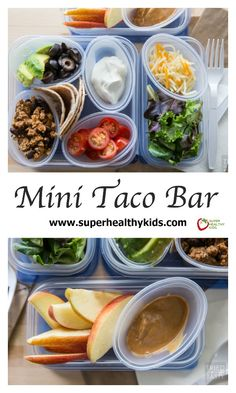 Mini Taco Bar: Quick & Easy Lunch Idea - Want a fun idea for lunch that doesn't require a lot of effort? These mini tacos are perfect for little hands, with flavor the whole family will enjoy! www.superhealthykids.com/mini-taco-bar