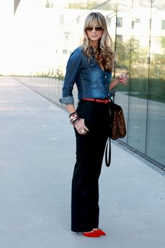 Denim shirt, black trousers, colorful shoes. teacher teaching office work outfit