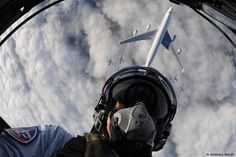 Selfie with 747 - It's hardly surprising that the best selfie ever was taken during the previously mentioned Air France B747 farewell flight. This flight was escorted by an honorary cordon of Patrouille de France, the demonstration team of the French air force. One of the fighter jets flew upside down above the 747 and then took this selfie.
