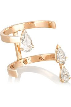 Repossi Serti Sur Vide 18-karat rose gold diamond ring | NET-A-PORTER