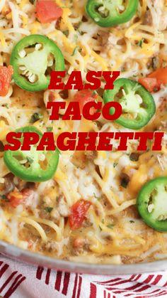 Taco Spaghetti, Chicken Spaghetti Recipes, Baked Chicken Pasta Recipes, Mexican Spaghetti, Chicken Spaghetti Casserole, Mexican Pasta, Beef Recipes, Cooking Recipes, Healthy Recipes