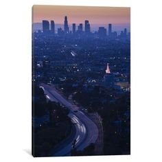 iCanvas High angle view of highway 101 at dawn, Hollywood Freeway, Hollywood, Los Angeles, California, USA Gallery Wrapped Canvas Art Print by Panoramic Images