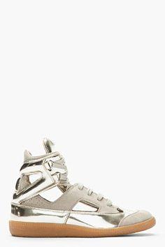 08ea36376fd MAISON MARTIN MARGIELA Metallic Gold Patent Leather Cut-Out Sneakers  Margiela Sneakers