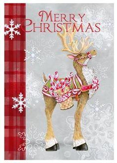 Candycane Reindeer Vert by Ronnie Rooney | Ruth Levison Design