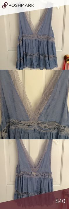 Free People Lace Tank cute baby blue lace tank top from Free People, worn once Free People Tops Blouses