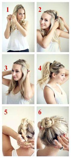Super Easy Top-Knot Hair Bun Step By Step Tutorials