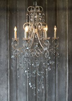 Vintage French Soul ~ Mirabelle Chandelier is gorgeous! I envision this above a rustic French Country Kitchen Island. The juxtaposition of rustic and refined is breath taking. Decor, Shabby Chic, Lighting, Beautiful Chandelier, Chandelier Lamp, Home Decor, Lights, Beautiful Lighting, Chandelier