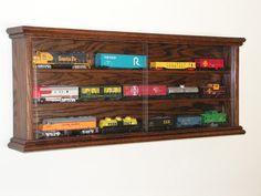 HO Scale Model Train Display Case Cabinet Wall Rack Lockable