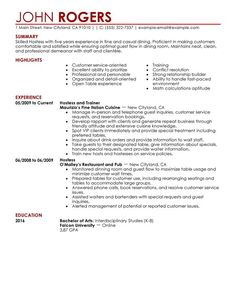 Restaurant Hostess Resume Erica Wilkinson Ericawilkinson2 On Pinterest