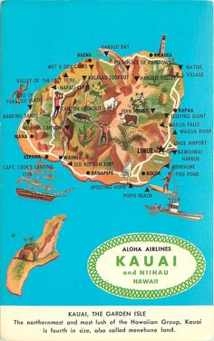 vintage kauai and Niihau Hawaii postcard map aloha airlines - oh, Kauai, I am missing you...