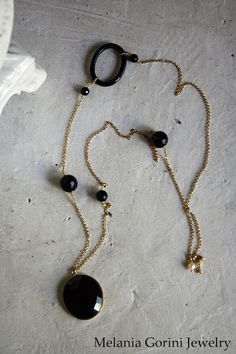 Vermeil necklace with faceted black onyx cabochon by MelaniaGoriniJewelry