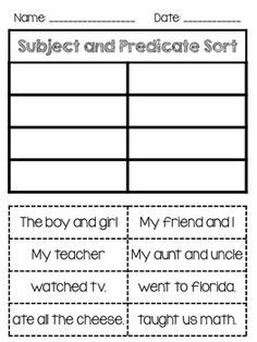 Subject and Predicate Freebie Sorting activity as well as an anchor chart.Hope you enjoy!<br> Sorting activity as well as an anchor chart. Hope you enjoy! Teaching Second Grade, First Year Teaching, 2nd Grade Writing, 2nd Grade Reading, Teaching Language Arts, Teaching Writing, Student Teaching, Elementary Teaching, Writing Lessons