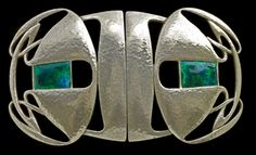 Art Nouveau silver and enamelled buckle by Archibold Knox. 1902.