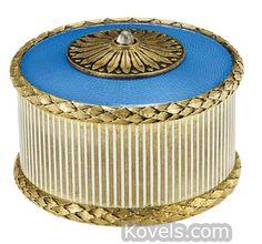Faberge bell push with laurels, silver, gilt, blue guilloche enamel cabochonbutton | Antiques & Collectibles Price Guide | Kovels.com