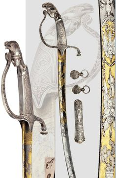 A silver-mounted deluxe sabre, Vienna, circa 1810.  An extraordinarily beautiful deluxe sabre of high quality of it's time. Notice the pommel in the shape of a warrior with helmet and the two piece floral decoration in relief.