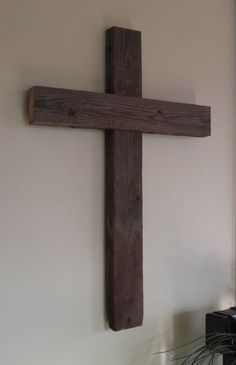 Large Wooden Rustic Wall Cross from reclaimed barn wood