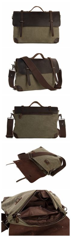 Canvas Leather Briefcase Messenger Bag Shoulder Bag Laptop Bag