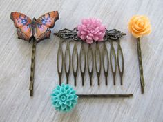 Flower and butterfly hair accessories bobby by SeptemberWillow