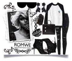 """""""ROMWE SWEATSHIRT"""" by jeneric2015 ❤ liked on Polyvore featuring Topshop, Yves Saint Laurent, Dolce&Gabbana, Valentino, Pieces, women's clothing, women's fashion, women, female and woman"""