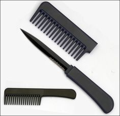 At first glance, this appears to be an ordinary comb. But pull the handle and out comes the black stainless steel knife blade! Great product for women!