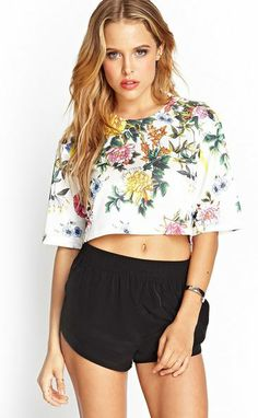 Floral Cropped Knit Top - StudentRate