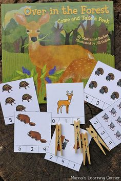 Clip Cards for Book, Over in the Forest by Marianne Berkes (free; from Rainy Day Mum)