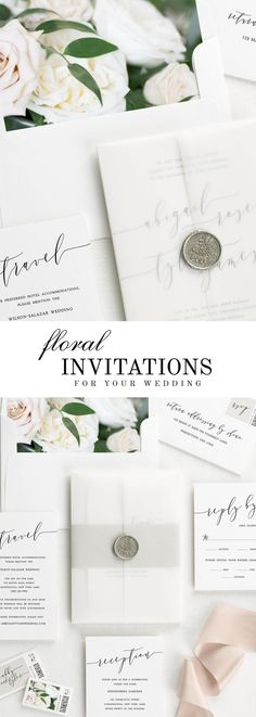 The Romantic Calligraphy wedding invitation suite is paired with Clara florals.  Clara features sand dollar roses, white garden roses, and Italian ruscus.