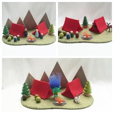 Red Tent Camping Playscape Play Mat - wool felt storytelling fairytale storybook fairy whimsical - Dollhouse woodland fairy house