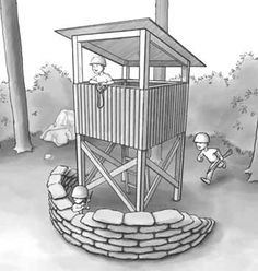 kids wooden watch tower   Playhouse Plans to Build a Child or Kids Playhouse or Stockade