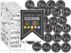 Chalky Classroom Garden Decor- Word Wall headers and words.  Alphabet, table numbers, number line etc....