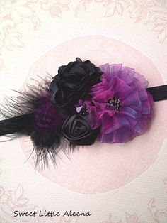 Purple Black Flower HeadbandBaby Girls Hair by SweetLittleAleena, $12.50