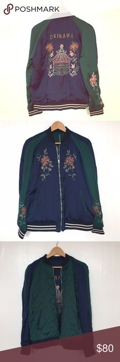 Zara Sukajan-style reversible embroidered jacket Zara Sokajuan-style embroidered reversible bomber jacket. The legend goes that in WWII, an American GI stationed in the occupied Japanese city of Yokosuka brought his regulation bomber to a local tailor (allegedly Tailor Toyo, still in business) to get it embroidered. The rest of the servicemen followed suit and took their jackets to get custom-embroidered. This is how the Sukajan fashion started. (Oh yeah, and apparently Gucci is making some…