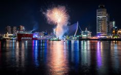 Download wallpapers Rotterdam, Erasmus Bridge, fireworks harbor, port, Netherlands, city lights