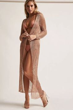 Product Name:Metallic Knit Swim Cover-Up, Category:sweater, Price:58