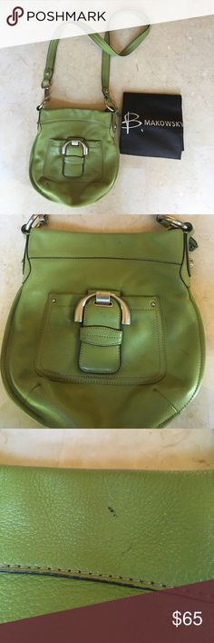 B. Makowsky Green Leather Cross Body A little worn, with a few scuff marks on the leather (pictured above).  🌞Open to offers  ❌Trying to thin out my closet- no trades please  💧Clothing steam sanitized before shipment b. makowsky Bags Crossbody Bags
