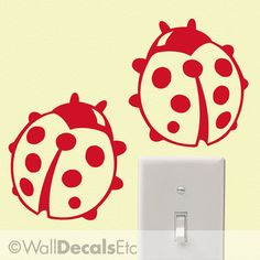 Vinyl Wall Decal Two Ladybugs Lady Bugs 01 by WallDecalsEtc, $5.00