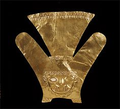 MOCHE culture North coast 100 – 800 AD  Forehead ornament 100-800 AD gold, silver, copper, shell