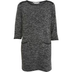 Grey Textured PU Pocket Tunic ($49) ❤ liked on Polyvore