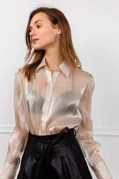 Ocre Satin Long Sleeve Blouse - Light Gold Sheer Satin Long Sleeve Women's Button-Up Blouse. Sexy Blouse, Blouse And Skirt, Blouse Outfit, Peasant Blouse, White Satin Blouse, Satin Shirt, Satin Bluse, Pencil Skirt Black, Pencil Skirts