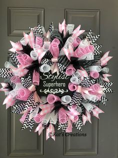 Know someone graduating from beauty school? Or how about that perfect gift for your favorite hair stylist? These can be made in any color combination so contact me directly for that perfect gift idea! Deco Mesh Wreaths, Door Wreaths, Breast Cancer Wreath, School Wreaths, Decor Crafts, Diy Crafts, Vintage Wreath, Pink Wreath, Nyx Matte