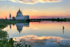 Buddhist temple at sunset reflecting in lake near U bein bridge at Amarapura ,Mandalay, Myanmar. Yangon, Mandalay, Inle See, Travel Around The World, Around The Worlds, Amarapura, Buddhist Temple, Touring, Cruise