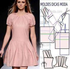 """90 Likes, 2 Comments - Fátima Carvalho Lopes (@moldes_dicas_moda) on Instagram: """"Molde de vestido passo a passo, ler mais... http://moldesdicasmoda.com/molde-de-vestido-174/…"""""""