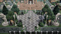 Animal Crossing Wild World, Animal Crossing Guide, Animal Crossing Villagers, Harry Potter Castle, Urban Island, Entrance Design, Path Ideas, Garden Images, Concrete Jungle