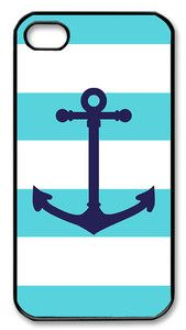 iPhone 4 4S Black Border Hard Case Aqua Nautical Stripes Pattern Anchor | eBay