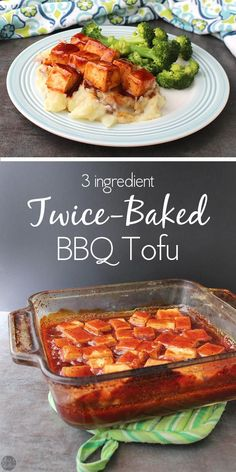 Sweet-and-sticky baked BBQ tofu is perfect parked next to your favorite green veggie on top of a bed of fluffy mashed potatoes. #tofu #bbq #vegan #baked #easymeals #easy